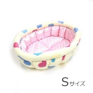 ふーじこちゃんママ手作り ぽんぽんベッド(サテンライトピンク・ボアハート柄) Sサイズ 【PB2-122S】