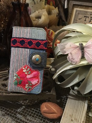mexican embroidery × denim patchwork iPhone case