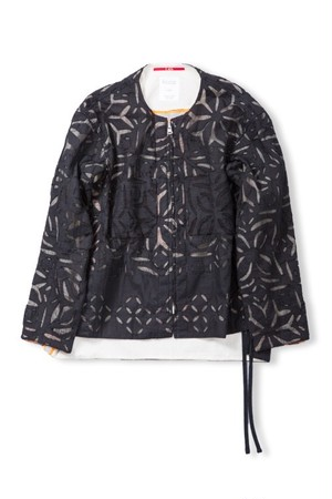 Leh Reversible No collar zip blouson (Black × Black / size:M) [LEH_698]