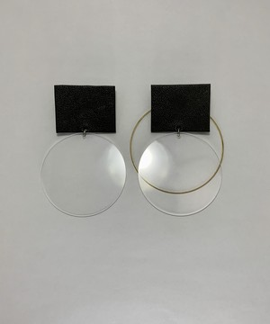Transparent and leather earrings/ khaki
