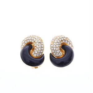 Christian Dior/クリスチャン・ディオール ラインストーンクロスデザインイヤリング ゴールド×ブラック(50134)