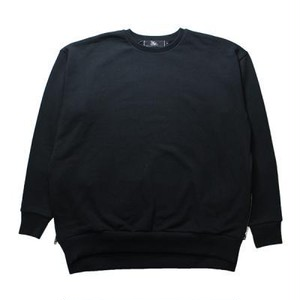 【THE WRAP CLOSET】SIDE ZIP CREW NECK SWEAT(BLACK)