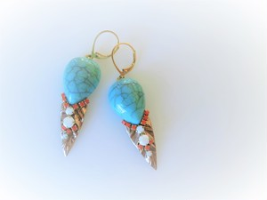 vintage pierced earrings leaf tq <PE-TQdrlf3>