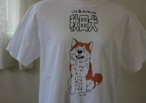 秋田犬Tシャツ半袖Mサイズ(オスワリ赤秋田♪・ホワイト)