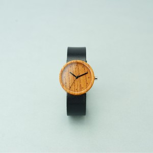 Zelkova wood - Organic leather Black - M