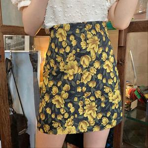 vintage flower skirt 2color