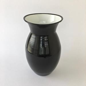 黒い琺瑯のフラワーベース Black Enamel Vase
