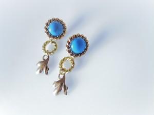 ツイストリング&リーフピアス vintage earrings ring & leaf <PE1-0120>