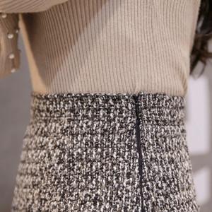 全2色ツイード膝丈フレアスカート