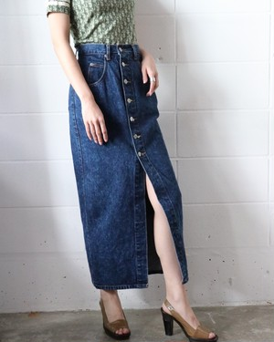 Vintage long denim tight skirt