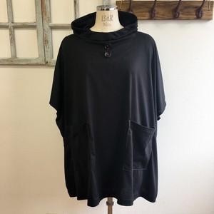 再販×2 NEWバージョン  男女兼用❤️カットソー素材のポンチョ風五分袖パーカー(黒)男女フリー L〜LL
