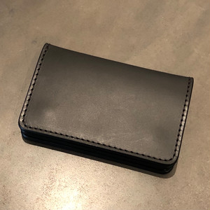LEATHER CARD CASE(BLACK × BLACK) / GERUGA