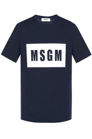 MSGM (エムエスジーエム) ロゴTシャツ メンズ 2440MM67 184299 ネイビー