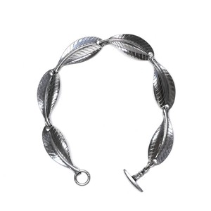 Danish Vintage Sterling Silver Leaf Motif Bracelet by Hermann Siersbol