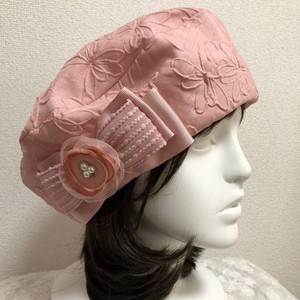 お生地たっぷりベレー帽シャンタンふくれ柄ピンク