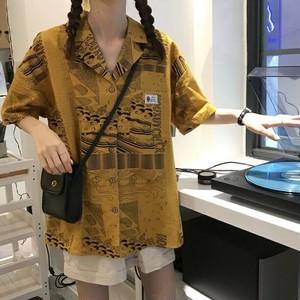 【トップス】新作ファッションルーズレトロプリントシャツ