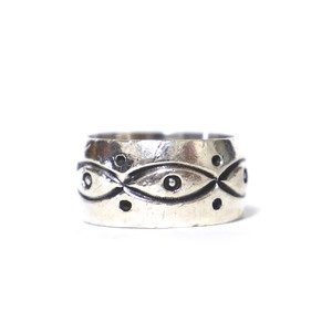 Navajo Vintage Sterling Silver Stamp Ring