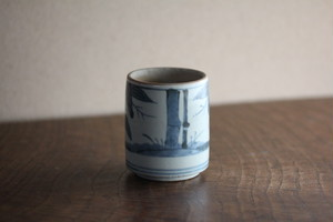 古伊万里染付竹文筒形容器 Antique Japanese Imari Blue and White Cup with Bamboos Design 18th-19th C