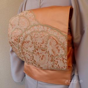 正絹 オレンジシャーベット色の刺繍の袋帯