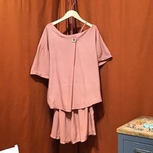 One Shoulder & Short Pants SETUP  Color : Dull Pink