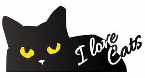 猫目が光る黒猫ステッカー(横)