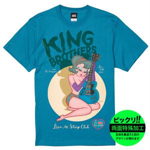 『LIVE at STRIP CLUB』びっくり両面プリント Tシャツ/ビンテージブルー