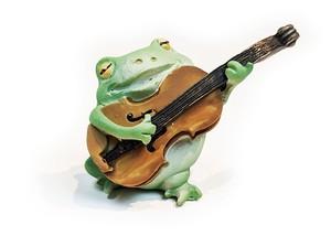 弾き語り蛙 ギター弾きカエル ミニ樹脂オブジェ