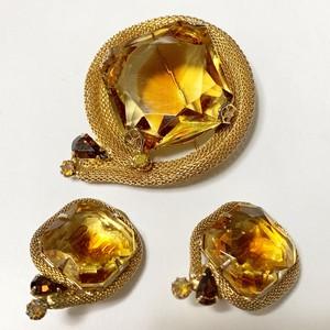 Vintage Amber Marble Color Bijoux Earrings & Brooch