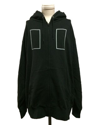 RECTANGLE OVER SIZE ZIP HOODIE -BLACK-