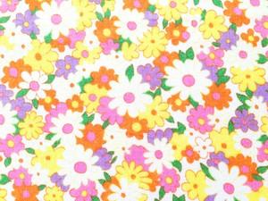 TAIWAN 花柄コットン生地 - オレンジ W90×45cm