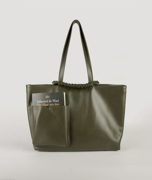 PAZAR BOOK TOTE BAG_WIDE _OLIVE GREEN