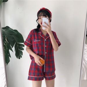 【パジャマ】韓国系チェック柄折り襟シングルブレストシャツ+ショートパンツパジャマ18466403