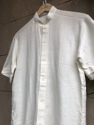 Deadstock British stand collar S/S shirts ivory color