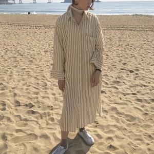 【3月中旬お届け予定】stripe shirt OP