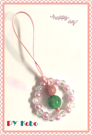 [Spring in full bloom!] Like a Hanami (flower viewing) dumpling! Gourd (Hyoutan) straps with Rhodonite and Jade