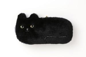 ネコ横長ポーチ【ボアブラック】