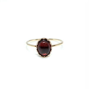 granulation 8×6 gem ring - Garnet