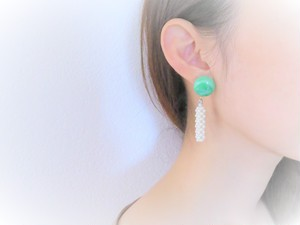 vintage pierced earrings pearl <PE-GRPL>