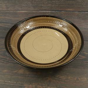 小石原焼 スープ皿 黒茶 トビカンナ 鶴見窯
