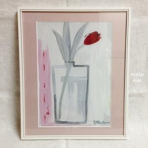 額装アクリル画「赤く咲くーチューリップ」