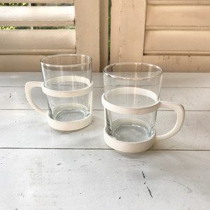 70's Germany Vintage Glass Holder Mug × 2 Set  / デッドストック品