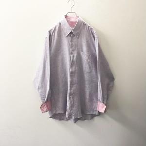 pierre cardin リネンシャツ ピンクストライプ size L メンズ 古着