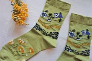 靴下(野花・もえぎ色)