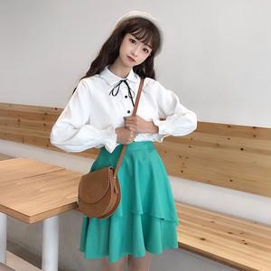 【セットアップ】春秋韓国風スウィートボウタイ無地長袖シャツ+ハイウエストプリーツスカートセットアップ