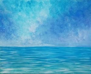 果てない空と海の絵 アクリル画