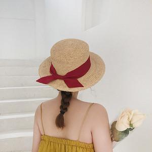 05TA230 バックリボン付き カンカン帽 3色 麦わら帽子 帽子 つば広帽子 紫外線対策 海 リゾート  レトロ 2019春夏 韓国ファッション オルチャン トレンド プチプラ かわいい おしゃれ