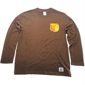 Noweee ロングTシャツ バックプリント ブラウン メンズ