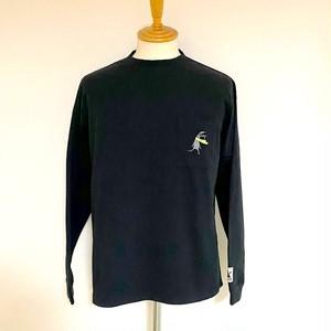 【予約商品:8月末予定】Shabby Embroidery Pocket Long Sleeve T-shirts Black