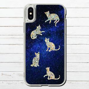 #000-049 iPhoneケース ねこ 可愛い グリッター ケース キラキラ iPhoneXS/X 人気 女子 セール iPhone6/6s/7/8 (iPhoneシリーズのみ対応・iPhonePlus非対応) タイトル:ねこ大星雲