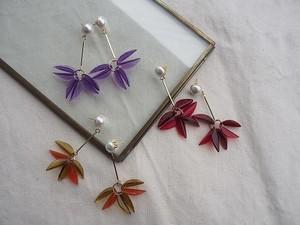 clear flower pearl pierce/earrings